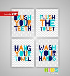 Printable DIY Kids Bathroom Art, Orange, Turquoise, Navy, Brush, Flush, Hang, Wash, Set of 4, 8x10 JPG files ( cc083 ) ( 010s810 )