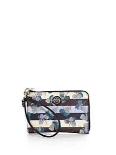Tory Burch - Kerrington Floral & Striped Coated-Canvas Wristlet