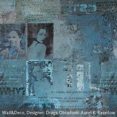 """Die Fotografien in Schwarz-Weiß und Sepia und die Ausschnitte aus Zeitungsartikeln auf der Tapete """"Paparazzi"""" von Wall & deco machen sie zu einer passenden…"""