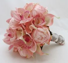 Bridal Bouquet of Peonies, Calla Lilies and Cymbidium Orchids