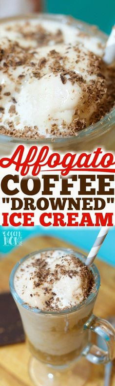 "The word affogato literally means ""drowned"" in Italian — Easy, 3 ingredient classic ice cream and coffee dessert. It's a coffee-lover's dream come true!! (ad) #SeattlesBestCoffee #SignatureBlendNo5"