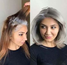 New grey hair growing out ombre ideas #hair