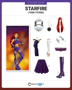 Find the entire cosplay costume of Starfire, a founding member of Teen Titans, a DC Comics superhero group with a TV show on Cartoon Network Purple Crop Top, Purple Skirt, Character Dress Up, Character Costumes, Dc Costumes, Cool Costumes, Halloween Outfits, Halloween Costumes, Halloween Ideas