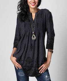 Look what I found on #zulily! Charcoal Damask Notch Neck Pin Tuck Tunic by Reborn Collection #zulilyfinds