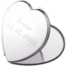 Create a lovely keepsake that is uniquely your own! Give mom this Engravable Heart Mirror Compact this Mother's Day!