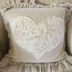 Shabby Love Pillow w/ Lace