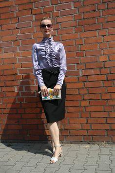 Oceanblue Style #European #Elegance Vintage Silk blouse Black pencil skirt #fashion #fashionblogger #style #women