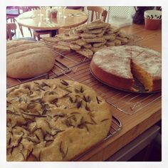 A busy morning baking! Rock salt and rosemary focaccia, Whole meal loaf, Orange polenta cake and Cantuccini! Orange Polenta Cake, Rosemary Focaccia, Polenta Cakes, Cornwall, February, Salt, Food And Drink, Menu, Bread
