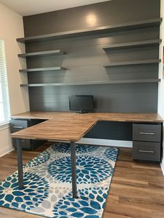 The office: T-shaped desk # bedroom table - # shaped # bedroom . - The office: T-shaped desk table – # bedroom table desk – - Guest Room Office, Home Office Space, Home Office Design, Home Office Decor, House Design, Office Designs, Bedroom Office, Ikea Office, Interior Office