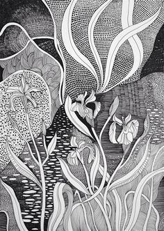 Helen Wells - abstract image black and white pen drawing of a magical stream