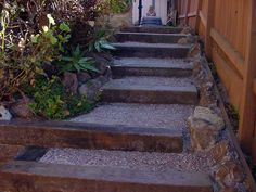 Exactly what I had in mind for the lakehouse steps...recycled railroad ties terraced down with landscape breathable fabric sheeting to prevent weeds and erosion and fill in steps with pea gravel or granite chips. Granite looks better for rustic, but pea gravel is forgiving to feet.