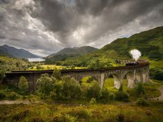 The Jacobite Steam Train, the inspiration for the Hogwarts Express atop ten things to see in Scotland. best views of the Glenfinnan viaduct (train service seasonal, so checkwebsite Ways To Travel, Places To Travel, Travel Things, Travel Ideas, Travel Inspiration, Train Travel, Solo Travel, Travel Bugs, London To Scotland