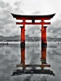 Torii gate of Itsukushima shrine, Japan