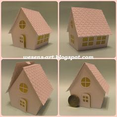 DIY Tutorial: Paper House: wesens-art.blogspot.com - Directions and printable to create your own putz houses.
