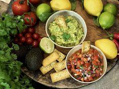guacamole og salsa med Tabasco