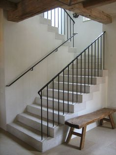 Rustic Traditional Concrete Stairs With Wrought Iron Railing Balustrade And  Bannister