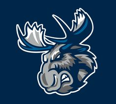 Manitoba Moose Jersey Logo on Chris Creamer's Sports Logos Page - SportsLogos. A virtual museum of sports logos, uniforms and historical items. Hockey Logos, Sports Team Logos, Logo Animal, Game Logo Design, Photoshop Design, Logo Color, Silhouette, Typography Poster, Cool Logo