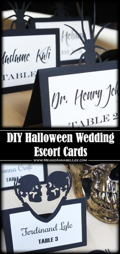 How to Make Laser Cut Halloween Wedding Escort Cards with Your Cricut | Skeleton Couple | Spiders | Gothic Entertaining | Seating Cards | www.MeandAnnabelLee.com