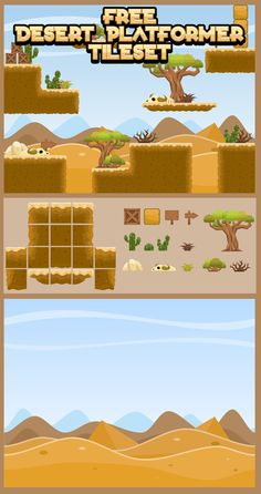 Free platformer game tileset with desert theme. Suitable for adventure…