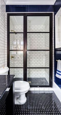 Subway Tile + French Door Shower