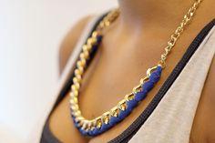 Tuto: un collier entre tissu et chaîne 6
