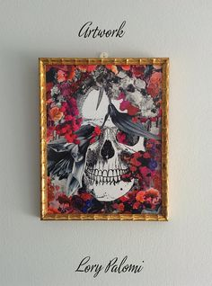 Original artwork made using the decoupage technique with reproduced stock images from XIX century engravings and paper floral images.  Memento Mori