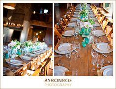 Farmhouse tables set w/ tablescape