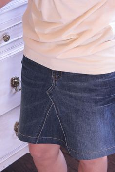 Jeans into a skirt tutorial!