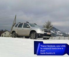 Vasile este încântat de noul lui Duster și ne-a trimis câteva poze. Nu-i așa că mașina lui arată foarte bine în zăpadă?