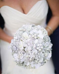White ivory silver bride brooch bouquet with Noaki & The Frosted Petticoat