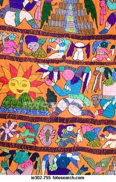 woven wool fabric with traditional Mayan illustrations; hand dyed.