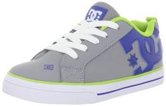 DC Court Graffik Vulcanized Skate Sneaker (Little Kid/Big Kid) DC. $42.95. Cushioned footbed. Sturdy synthetic upper. Rubber sole. The coolest look for the playground. Vulcanized rubber outsole for increased board feel. Padded collar and tongue. leather