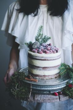Soft Gingerbread Cake with Cream Cheese Frosting & Sugared Cranberries