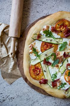 Zucchini Pizza with Heirloom Tomatoes and Prosciutto