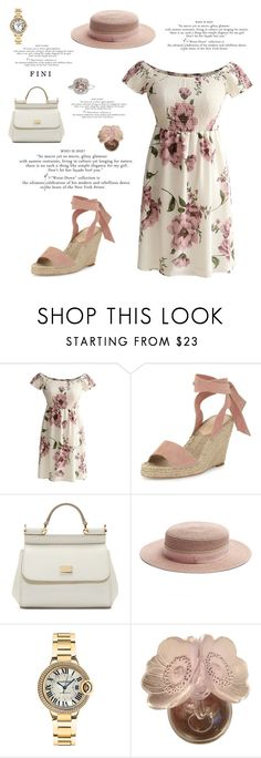 """My affair with florals"" by fini-i ❤ liked on Polyvore featuring Loeffler Randall, Dolce&Gabbana, Maison Michel, Cartier and Lalique"