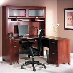 bush tuxedo l desk home office set with hutch in hansen cherry finish wc21430 bush home office furniture