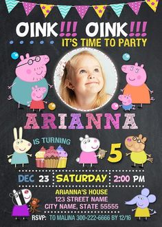 Peppa Pig Invitation for Peppa Pig Birthday Party. PRINTABLE DIGITAL FILE This listing is for the creation and delivery of personalized digital file for you to print yourself. We dont send physical products! Peppa Pig Invitation includes personal digital high resolution file in JPEG