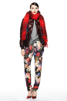 Layering in Autumn Shades: Red scarf + quilted puffer burgundy bomber jacket + grey top + vintage floral print pants J.Crew Fall Winter 2014.