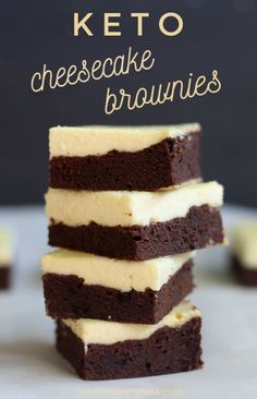 These keto cheesecake brownies are the best keto dessert! The bottom brownie layer is a flourless brownie topped with a sugar-free cheesecake. These keto cheesecake brownies are the best keto dessert! The bottom brownie lay. The Coconut Mama thec Keto Desserts, Mini Desserts, Brownie Desserts, Keto Friendly Desserts, Keto Dessert Easy, Oreo Dessert, Sugar Free Desserts, Easy Desserts, Keto Recipes