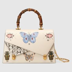 Main Image - Gucci Medium Linea P Butterfly Painted Leather & Genuine Snakeskin Top Handle Satchel Cl Fashion, Fashion Bags, Pink Handbags, Purses And Handbags, Gucci Handbags, Designer Handbags, Sac Gucci Dionysus, Leather Purses, Leather Handbags