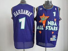 Magic #1 Penny Hardaway Blue All Star 1995 Embroidered NBA Jersey! Only $17.50USD