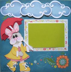 Easter Layout using Bunny in Rain Gear Cutting File Set
