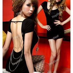 cda34af2731 Backless Short Sleeve One-piece Dress with Round Neck for Girl Lady Women  NTL-