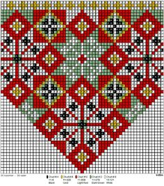 <p>Bringeduk- og belte-mønster. To barnesett hvor beltene godt kan brukes om hverandre.</p> Hardanger Embroidery, Folk Embroidery, Embroidery Patterns, Knitting Patterns, Cross Stitch Borders, Cross Stitching, Cross Stitch Patterns, Peyote Patterns, Beading Patterns