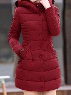 Comfortable Hooded With Pockets With Zips Overcoat - Moda daily Coats For Women, Jackets For Women, Clothes For Women, Mode Hijab, Down Coat, Coat Dress, Types Of Sleeves, Trendy Outfits, Trendy Fashion