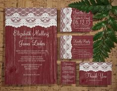 Rustic Burgundy Wedding Invitation Set/Suite, Invites, Save the date, RSVP, Thank You Cards, Response Card, Printable/Digital/PDF/Printed