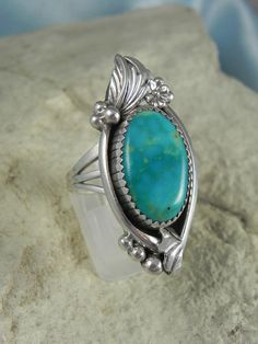 Signed Turquoise Native American Ring Size by HonestJohnMercantile, $40.00