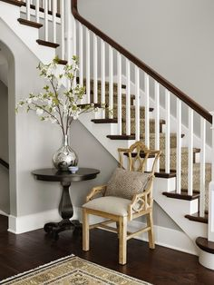 Paint Color Is Benjamin Moore Vapor Trails Molly Quinn Designs Staircase Walls Entryway Stairs