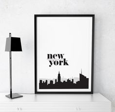 New York Printable Poster Motivational Wall Decor Typography Black And White Nyc Travel Art Instant