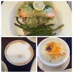 #tastytuesday  Lunch with mi madre at @lamadeleinecafe - Salmon with asparagus and dill sauce - Baked potato soup - gingerbread latte  #food #foodporn #wildflowers_n_wonderland #fall #winter #holiday #christmas #foodie #french by @wildflowers_n_wonderland - more recipes at www.tomcooks.com